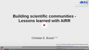 """Building Scientific Communities – Lessons Learned with AIRR"""